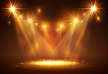 Spotlight On Stage With Smoke And Light.