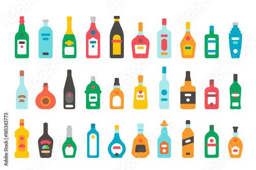 Flat design alcohol bottles set Canvas Print