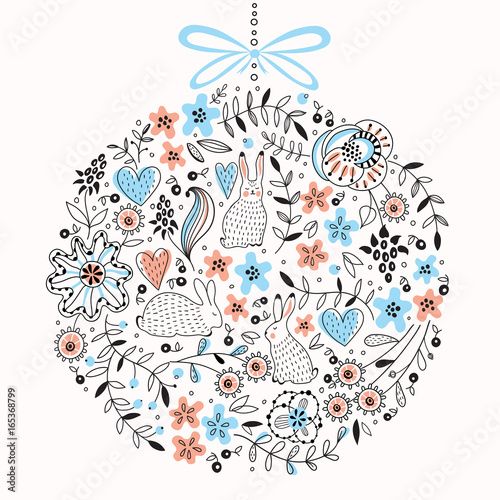 Round vector floral pattern