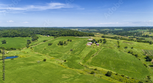 Deurstickers Luchtfoto Countryside farm aerial view with skyline, agriculure industry