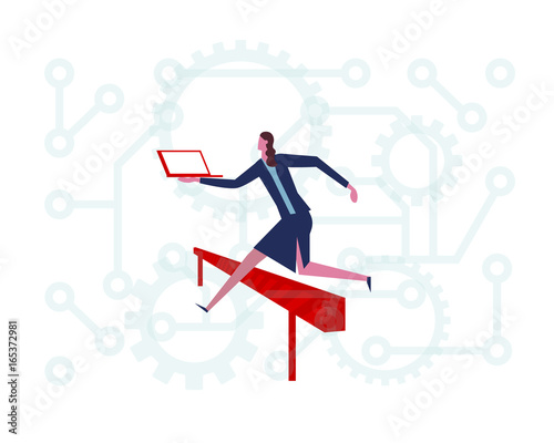 A Business Woman Jumping Higher Over Hurdle Running With Laptop