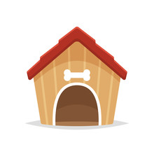 Dog House Cartoon Vector Isola...