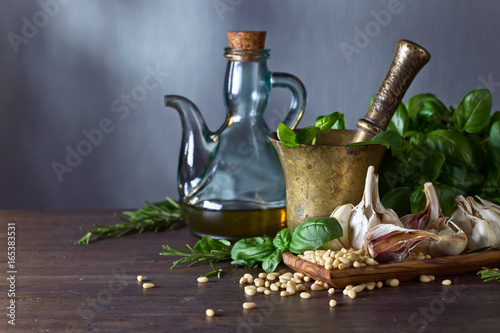 Ingredients for making pesto . Canvas Print