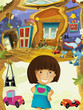 Cartoon children room with happy cheerful girl standing and smiling- house in the tree