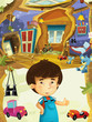 Cartoon children room with happy cheerful boy standing and smiling- house in the tree