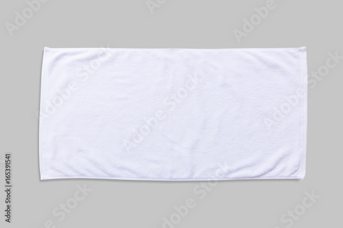 White beach towel mock up isolated with clipping path on grey background, flat l Tapéta, Fotótapéta