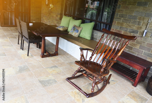Wondrous Rocking Wood Chair And Relaxation Tea Time Corner Table And Download Free Architecture Designs Rallybritishbridgeorg