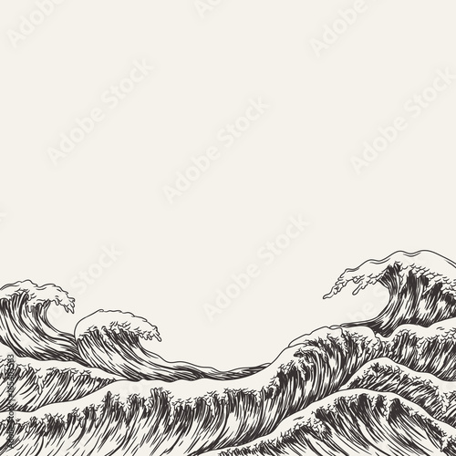 Vászonkép Hand drawn wave. Vector illustration