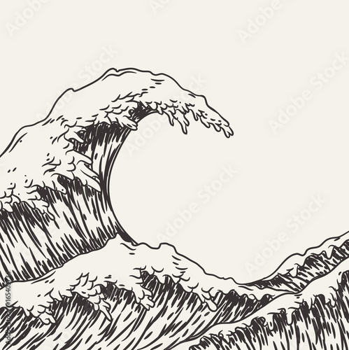 Fényképezés Hand drawn wave. Vector illustration