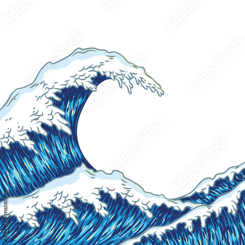 Valokuvatapetti Hand drawn wave. Vector illustration