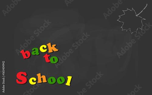 Fotografía Back to school colorful letters with maple leaf hand drawn chalk sketch on a blackboard