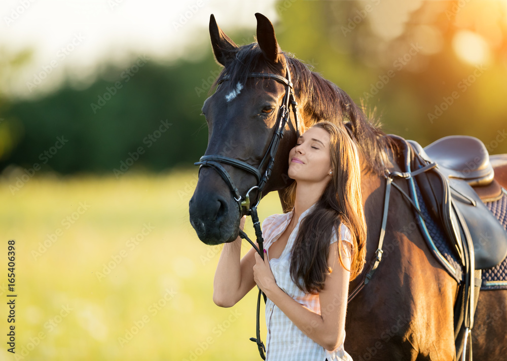 Fototapety, obrazy: Young woman with her horse in evening sunset light
