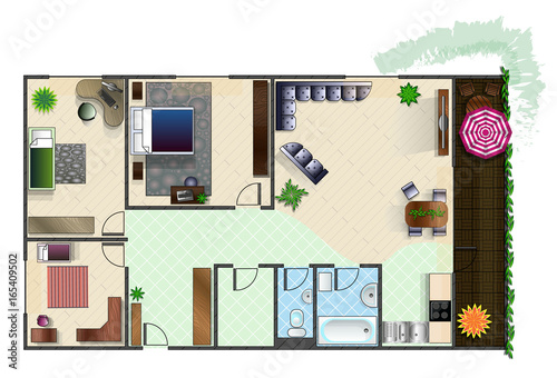 Architecture Plan With Furniture In Top View Of 4 Rooms Apartment Balcony Storeroom