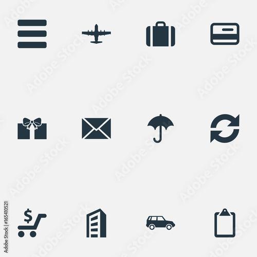 Vector Illustration Set Of Simple Distribution Icons Elements Envelope Online Transaction Plane And