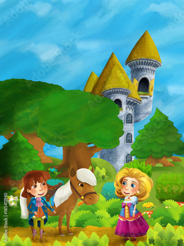 Papiers peints Chateau cartoon forest scene with prince with his horse and princess standing and talking on the path near castle tower