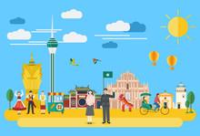 Illustration Of Macau Landmark...