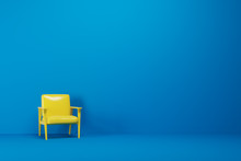 Blue Empty Room, Yellow Armchair