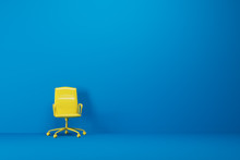 Blue Empty Room, Yellow Office Chair