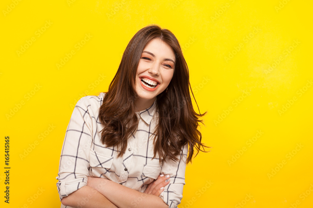 Fototapety, obrazy: Laughing woman with hands crossed
