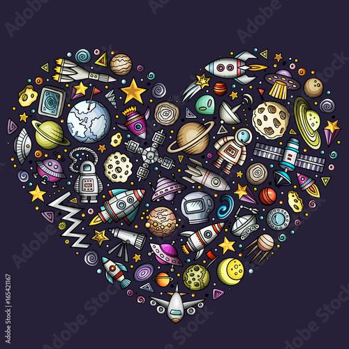 Fototapeta ikony kosmiczne w kształcie serca na granatowym tle