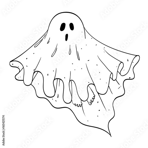 Cartoon image of ghost. An artistic freehand picture. Canvas Print