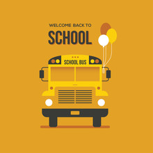 School Bus Front View With Thr...