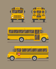 School Bus Flat Illustration. Front, Back And Two Side Views.