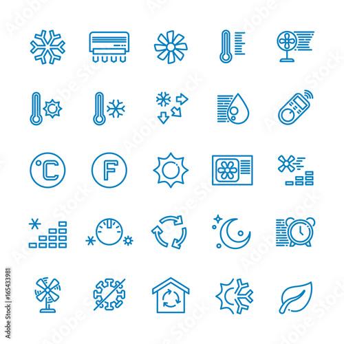 Fotografía  Air conditioning vector line icons