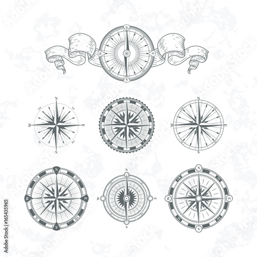 Fotomural  Orientation antique compas in vintage style