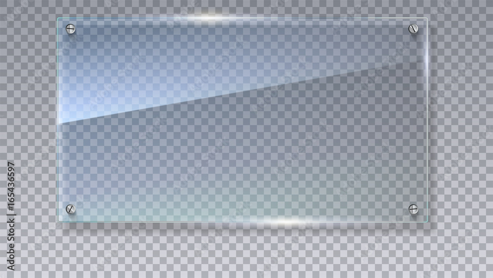 Fototapeta Blank, transparent vector glass plate. Vector template, mock-up banner with copy-space. Photo realistic texture with highlights and glow on the transparent. See through the plastic, 3D illustration.