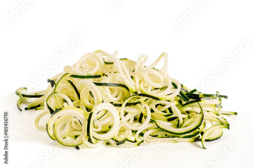 Zucchini Noodles Isolated on White
