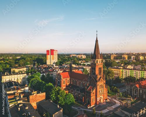Fototapeta Sosnowiec Katedra Wniebowzięcia NMP z powietrza obraz