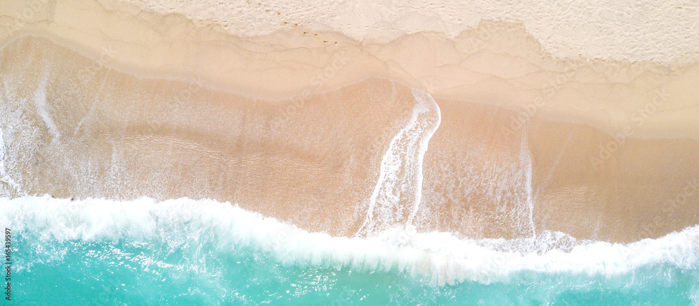 Fototapety, obrazy: Aerial view of sandy beach and ocean with waves