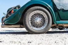 Spoked Rear Wheel Of A Green Morgan  8 Cabriolet - Oldtimer