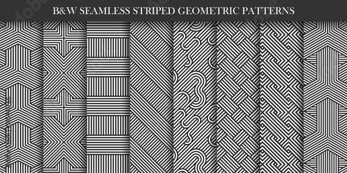 Collection of seamless striped patterns. Black and white repeatable geometric texture.