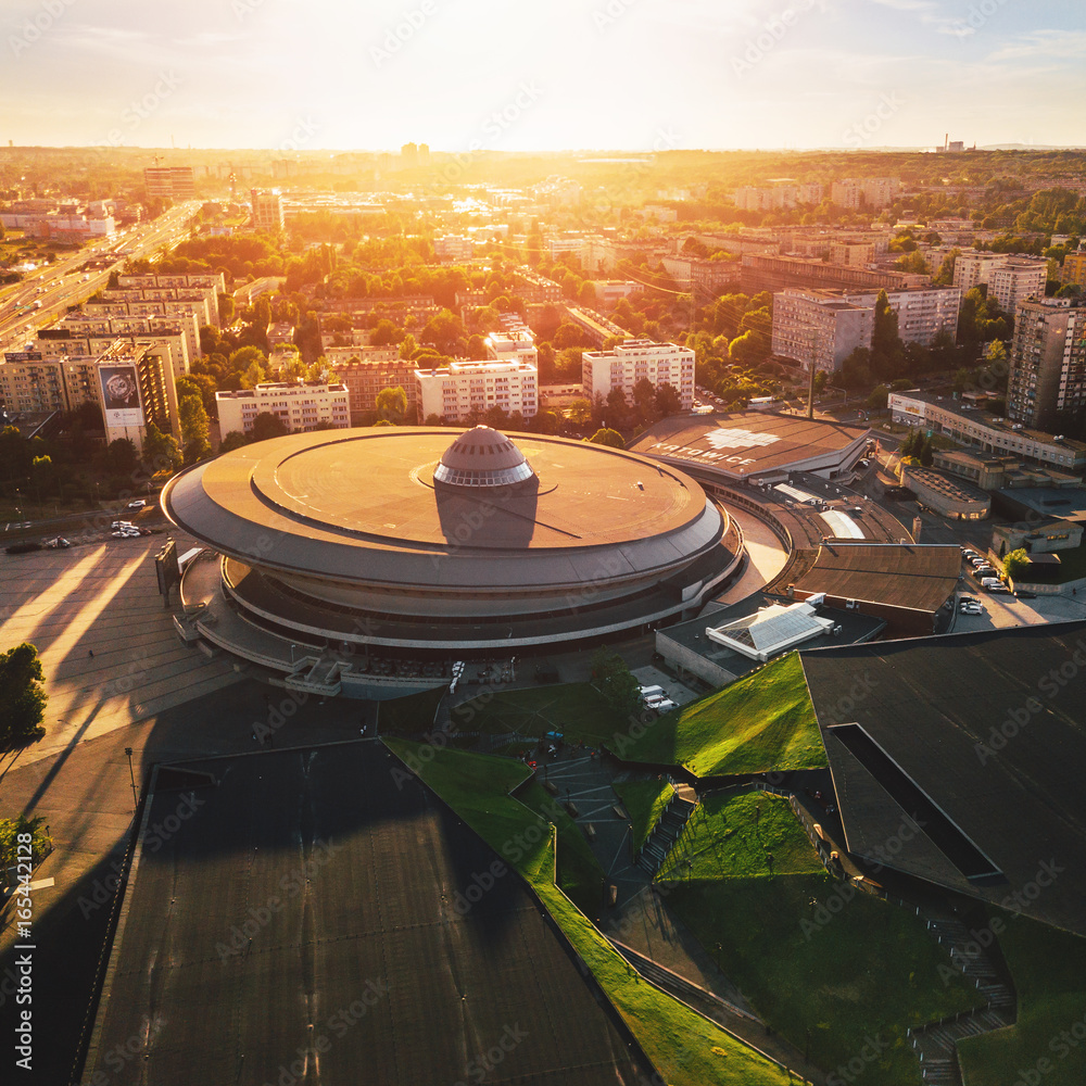 Fototapety, obrazy: Katowice Spodek z powietrza