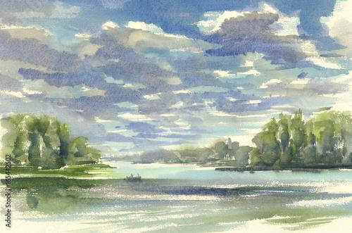 Foto op Canvas Olijf dark clouds over the lake watercolor