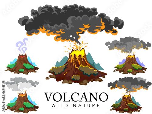 Fotografie, Obraz  A set of volcanoes of varying degrees of eruption, a sleeping or awakening dange