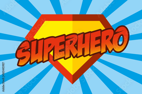 Fototapeta Superhero logo, pop art background obraz