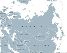Eurasia Political Map With Countries And Borders. Combined Continental Landmass Of Europe And Asia Located In Northern And Eastern Hemispheres. Gray Illustration Over White. English Labeling. Vector.