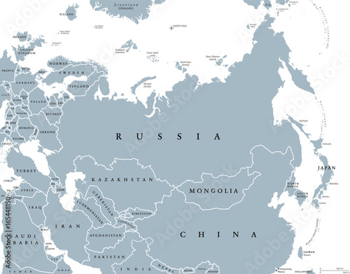 Eurasia Political Map With Countries And Borders. Combined Continental  Landmass Of Europe And Asia Located