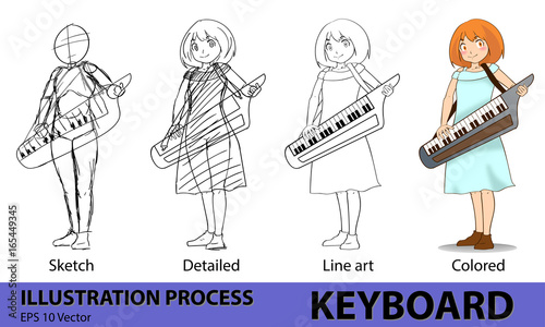 Girl Keyboard Musician Drawing Process Step From Sketch Detailed