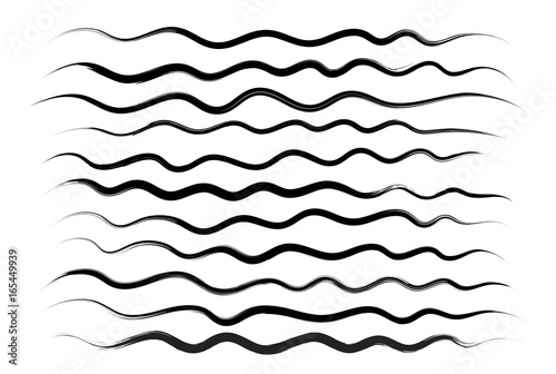 Fotografie, Obraz  Wavy lines, brush drawing