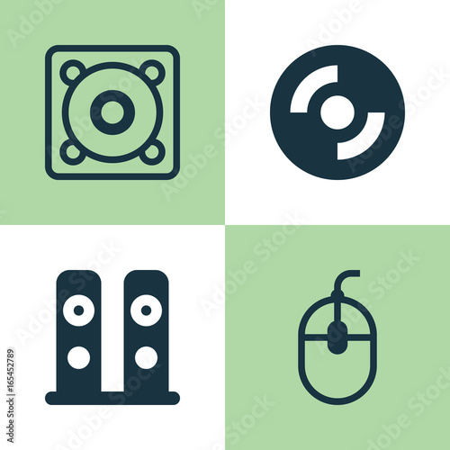 Hardware Icons Set  Collection Of Music, Control Device