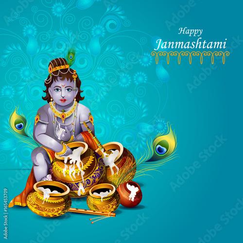 Happy Krishna Janmashtami Greeting Background Buy This