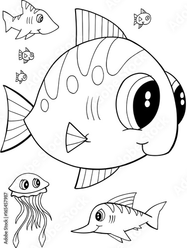 Papiers peints Cartoon draw Cute Fish Vector Illustration Coloring Page