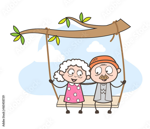 Photo  Cartoon Romantic Old Age People Swing Together in Park Vector Illustration