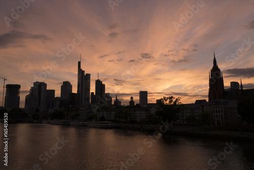 Foto op Canvas Londen Sunset skyline cityscape in metropolis city Frankfurt