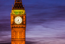 London Big Ben Clock Tower And Parliament House At City Of Westminster, London, England, Great Britain, UK.