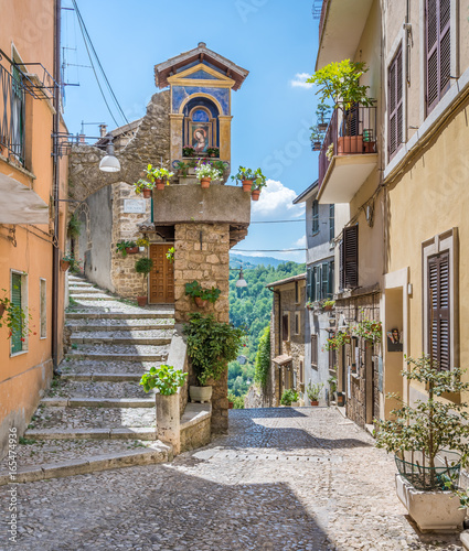 Photo Stands Cappuccino Scenic sight in Subiaco old town, province of Rome, Latium, central Italy.